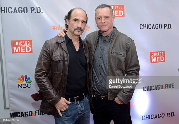 Actors Elias Koteas and Jason Beghe attend a press junket for NBC's 'Chicago Fire' 'Chicago PD' and 'Chicago Med' at Cinespace Chicago Film Studios...