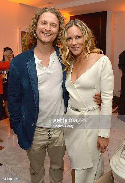 Actors Elijah AllanBlitz and Maria Bello attend the Amazon red carpet premiere screening of original drama series Goliath at The London West...