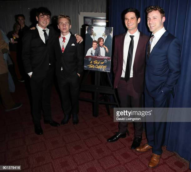 Actors Elijah Marcano Justin Ellings Scott Bosely and Casey Leach attend a screening of 'A Tale of Two Coreys' at ArcLight Sherman Oaks on January 4...