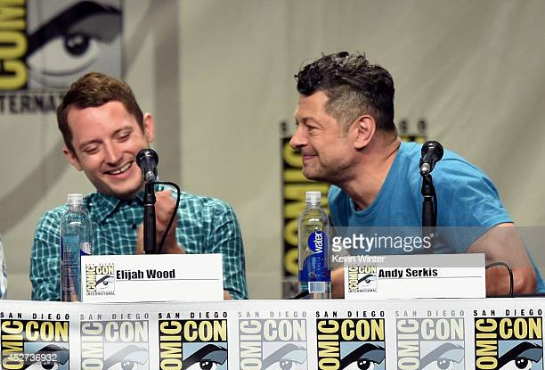 Actors Elijah Wood and Andy Serkis attend the Warner Bros. Pictures panel and presentation during Comic-Con International 2014 at San Diego...