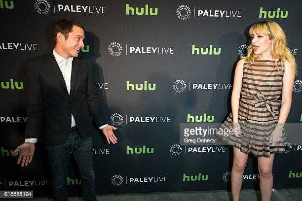 "Actors Elijah Wood and Hannah Marks arrive for the PaleyLive LA - ""Dirk Gently's Holistic Detective Agency"" Premiere Screening And Conversation at..."