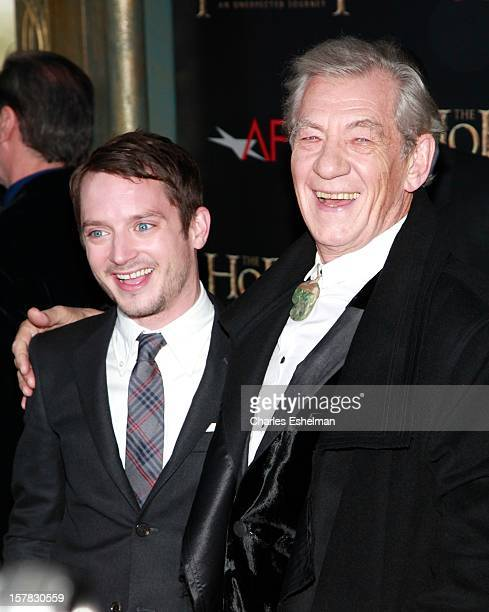 "Actors Elijah Wood and Ian McKellen attend ""The Hobbit: An Unexpected Journey"" premiere at the Ziegfeld Theater on December 6, 2012 in New York City."