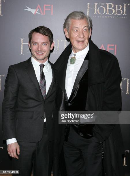 Actors Elijah Wood and Ian McKellen attend 'The Hobbit An Unexpected Journey' premiere at the Ziegfeld Theater on December 6 2012 in New York City