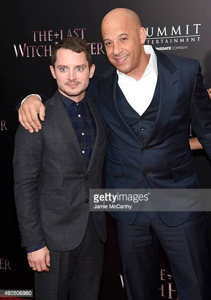 Actors Elijah Wood and Vin Diesel attend the New York premiere of The Last Witch Hunter at AMC Loews Lincoln Square on October 13 2015 in New York...
