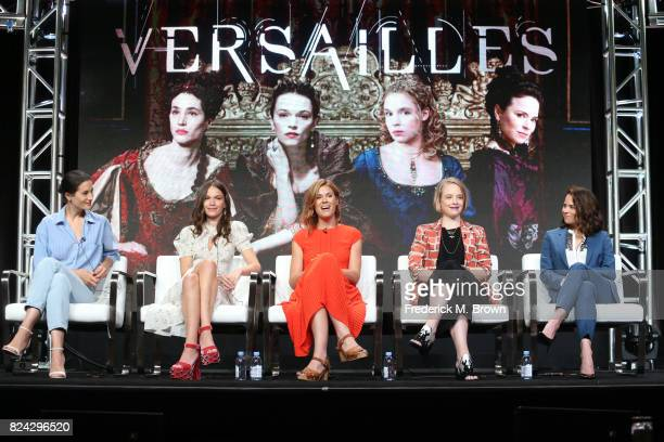 Actors Elisa Lasowski Anna Brewster producer Aude Albano actors Jessica Clark Suzanne Clement of 'Versailles' speak onstage during the Ovation...