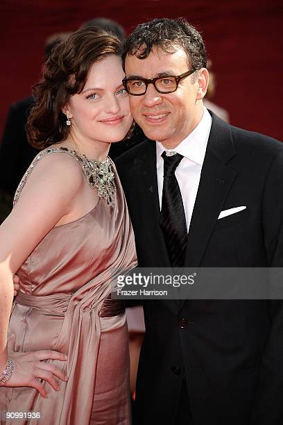 Actors Elisabeth Moss and Fred Armisen arrive at the 61st Primetime Emmy Awards held at the Nokia Theatre on September 20 2009 in Los Angeles...