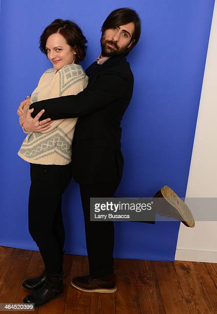 Actors Elisabeth Moss and Jason Schwartzman pose for a portrait during the 2014 Sundance Film Festival at the Getty Images Portrait Studio at the...