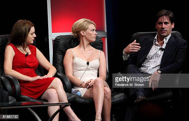 Actors Elisabeth Moss January Jones and Jon Hamm of Mad Men speaks during day two of the AMC Channel 2008 Summer Television Critics Association Press...