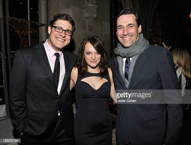 Actors Elisabeth Moss Rich Sommer and Jon Hamm attend GQ's 2011 'Men of the Year' Party held at Chateau Marmont on November 17 2011 in Los Angeles...
