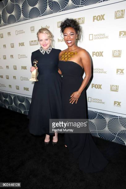 Actors Elisabeth Moss winner of Best Performance by an Actress in a Television Series Drama for 'The Handmaid's Tale' and Samira Wiley attend Hulu's...