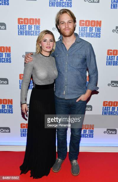 Actors Elisha Cuthbert and Wyatt Russell attends Goon Last Of The Enforcers Premiere at Scotiabank Theatre on March 6 2017 in Toronto Canada