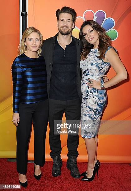 Actors Elisha Cuthbert Nick Zano and Kelly Brook arrive at NBCUniversal's 2015 Winter TCA Tour Day 2 at The Langham Huntington Hotel and Spa on...