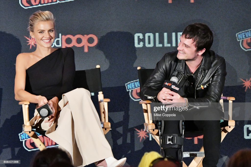 Actors Eliza Coupe and Josh Hutcherson participate in Hulu's Future Man panel at New York Comic Con at Jacob Javits Center on October 6, 2017 in New York City.