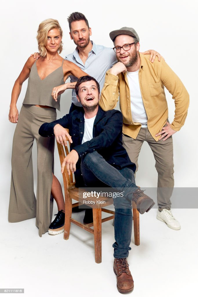 Actors Eliza Coupe, Derek Wilson, Josh Hutcherson, and Seth Rogen from Hulu's 'Future Man' pose for a portrait during Comic-Con 2017 at Hard Rock Hotel San Diego on July 22, 2017 in San Diego, California.