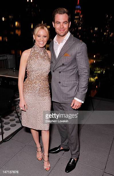 Actors Elizabeth Banks and Chris Pine attend the after party for the Cinema Society with Linda Wells & Allure screening of DreamWorks Studios'...