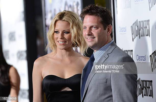 Actors Elizabeth Banks and Max Handelman arrive at the Los Angeles premiere of 'Pitch Perfect' at ArcLight Hollywood on September 24 2012 in...