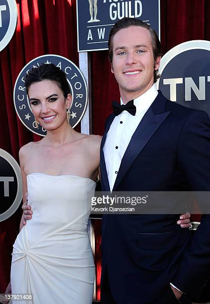 Actors Elizabeth Chambers and Armie Hammer arrive at the 18th Annual Screen Actors Guild Awards at The Shrine Auditorium on January 29 2012 in Los...