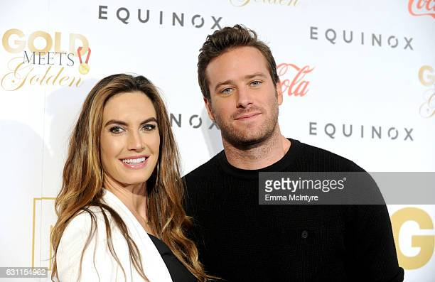 Actors Elizabeth Chambers and Armie Hammer attend Life is Good at GOLD MEETS GOLDEN Event at Equinox on January 7 2017 in Los Angeles California