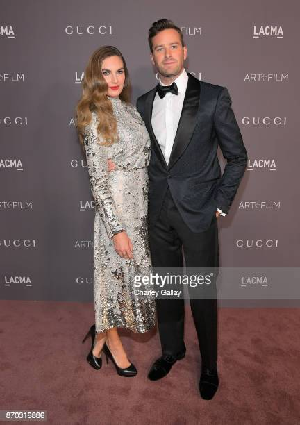 Actors Elizabeth Chambers and Armie Hammer attend the 2017 LACMA Art Film Gala Honoring Mark Bradford and George Lucas presented by Gucci at LACMA on...