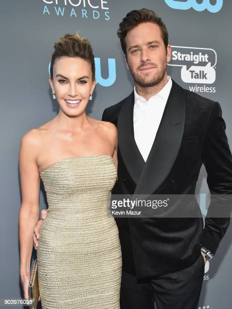 Actors Elizabeth Chambers and Armie Hammer attend The 23rd Annual Critics' Choice Awards at Barker Hangar on January 11, 2018 in Santa Monica,...