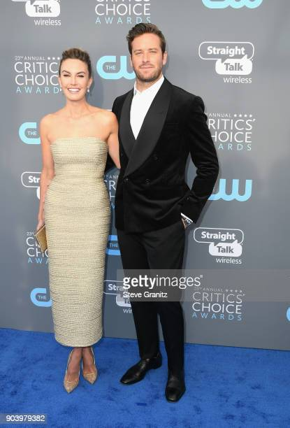Actors Elizabeth Chambers and Armie Hammer attend The 23rd Annual Critics' Choice Awards at Barker Hangar on January 11 2018 in Santa Monica...