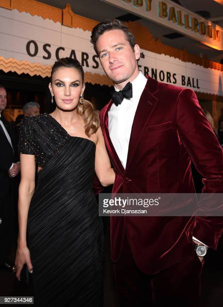 Actors Elizabeth Chambers and Armie Hammer attend the 90th Annual Academy Awards Governors Ball at Hollywood Highland Center on March 4 2018 in...