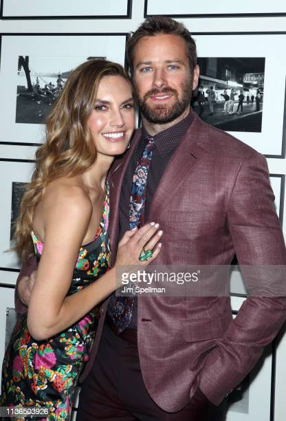 Actors Elizabeth Chambers and Armie Hammer attend the New York screening after party for Hotel Mumbai at The Times Square EDITION on March 17 2019 in...
