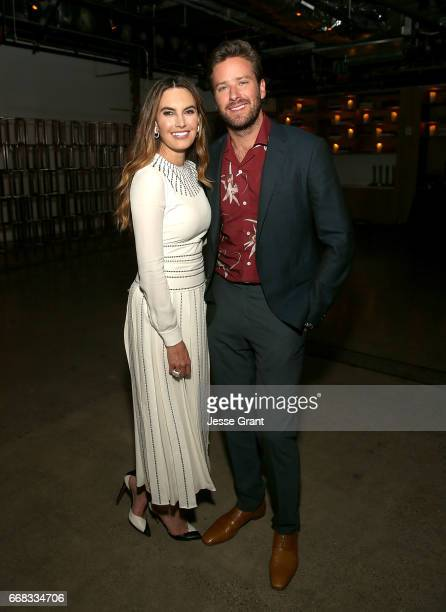 """Actors Elizabeth Chambers and Armie Hammer attend the premiere of A24's """"Free Fire"""" after party on April 13, 2017 in Los Angeles, California."""