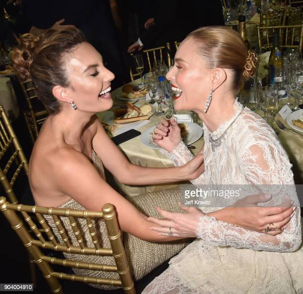 Actors Elizabeth Chambers and Kate Bosworth attend The 23rd Annual Critics' Choice Awards at Barker Hangar on January 11 2018 in Santa Monica...
