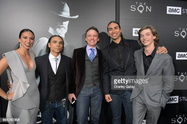 Actors Elizabeth Frances Zahn McClarnon David Wilson Barnes Tatanka Means and Jacob Lofland attend AMC's 'The SON' premiere at ArcLight Hollywood on...