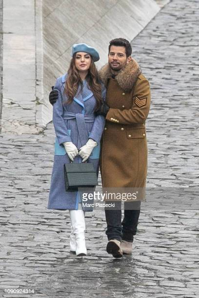 Actors Elizabeth Gillies and Rafael de la Fuente are seen on the set of 'Dynasty' on January 07 2019 in Paris France