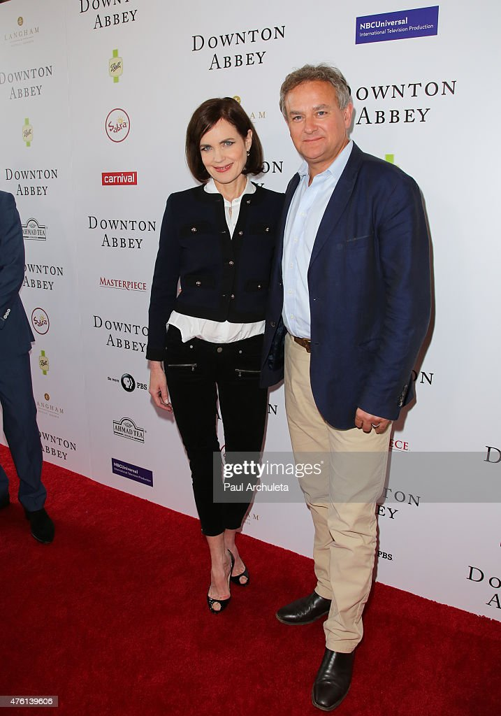 Actors Elizabeth McGovern (L) and Hugh Bonneville (R) attend the 'Downton Abbey' panel Q&A at The Writers Guild Theater on June 6, 2015 in Beverly Hills, California.