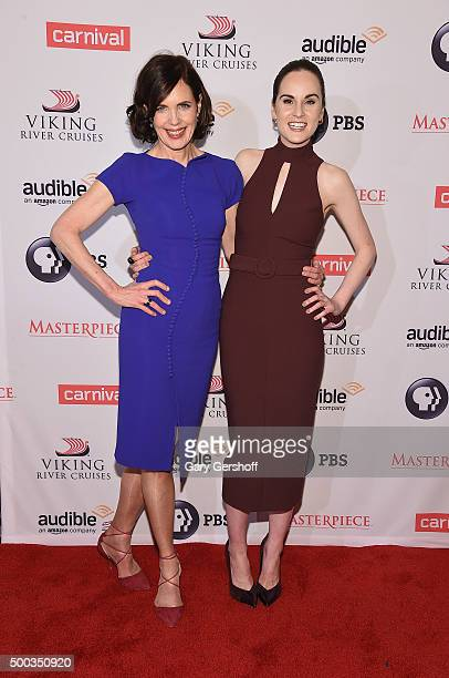 Actors Elizabeth McGovern and Michelle Dockery attend the 'Downton Abbey' Series Season Six premiere at Millenium Hotel on December 7 2015 in New...
