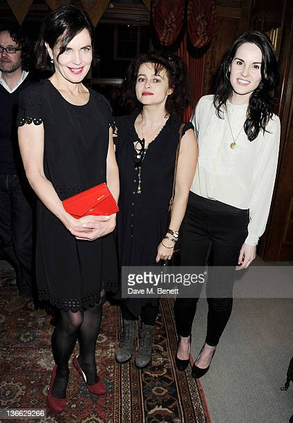 Actors Elizabeth McGovern Helena Bonham Carter and Michelle Dockery attend a special screening of 'My Week With Marilyn' hosted by Colin Firth at...