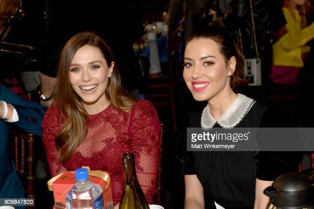 Actors Elizabeth Olsen and Aubrey Plaza during the 2018 Film Independent Spirit Awards on March 3, 2018 in Santa Monica, California.