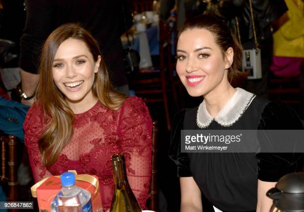 Actors Elizabeth Olsen and Aubrey Plaza during the 2018 Film Independent Spirit Awards on March 3, 2018 in Santa Monica, California.