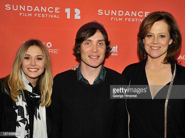 Actors Elizabeth Olsen Cillian Murphy and Sigourney Weaver attend the Red Lights Premiere at the Eccles Center Theatre during the 2012 Sundance Film...