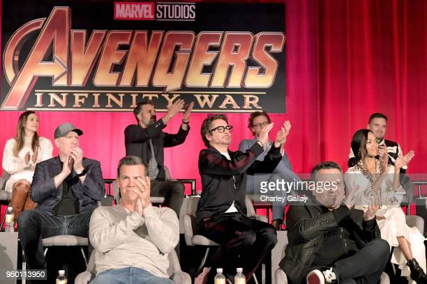 Actors Elizabeth Olsen Mark Ruffalo Tom Hiddleston and Sebastian Stan President of Marvel Studios and Producer Kevin Feige actors Robert Downey Jr...