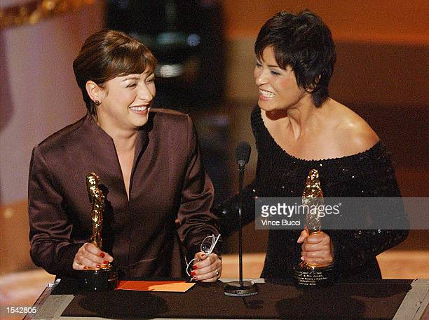 Actors Elizabeth Pena and Elpidia Carrillo accept their awards for outstanding supporting actress in a motion picture during the 2002 Alma Awards May...