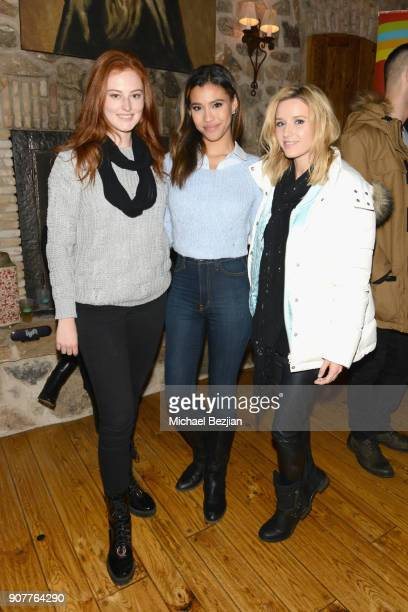 Actors Elizabeth Rae Weinberg Kara Royster and Sloan Avery attend the WanderLuxxe House with Apex Social Club presents 'Mandy' after party presented...