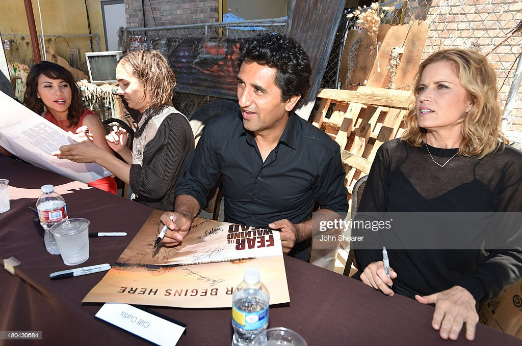 Actors Elizabeth Rodriguez, Frank Dillane, Cliff Curtis and Kim Dickens attend AMC's 'Fear The Walking Dead' during Comic-Con International 2015 at the Hilton Bayfront on July 11, 2015 in San Diego, California.