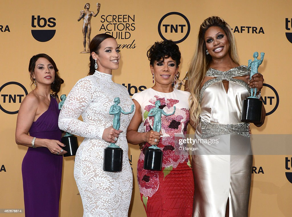 Actors Elizabeth Rodriguez, Laverne Cox, Dascha Polanco, and Selenis Leyva, winners of Outstanding Performance by an Ensemble in a Comedy Series for 'Orange Is the New Black,' pose in the press room at the 21st Annual Screen Actors Guild Awards at The Shrine Auditorium on January 25, 2015 in Los Angeles, California