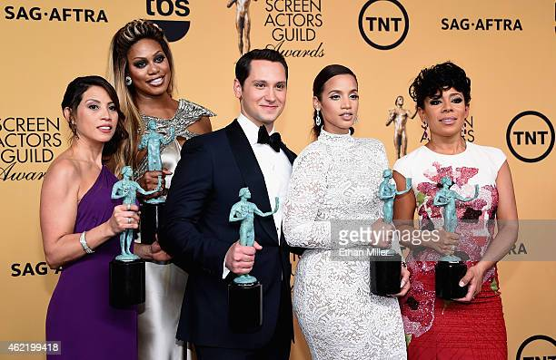 Actors Elizabeth Rodriguez Laverne Cox Matt McGorry Dascha Polanco and Selenis Leyva winners of Outstanding Performance by an Ensemble in a Comedy...