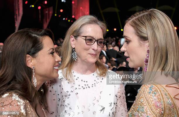 Actors Elizabeth Rodriguez Meryl Streep and Emily Blunt attend The 23rd Annual Screen Actors Guild Awards at The Shrine Auditorium on January 29 2017...