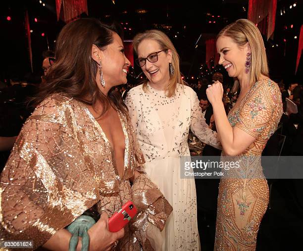 Actors Elizabeth Rodriguez Meryl Streep and Emily Blunt during The 23rd Annual Screen Actors Guild Awards at The Shrine Auditorium on January 29 2017...