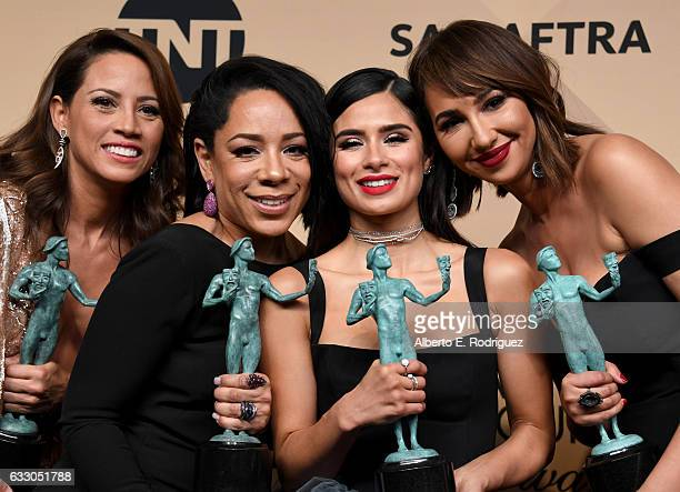 Actors Elizabeth Rodriguez Selenis Leyva Diane Guerrero and Jackie Cruz cowinners of the Outstanding Performance by an Ensemble in a Comedy Series...