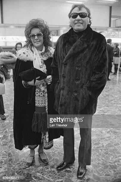 Actors Elizabeth Taylor and her husband Richard Burton at London Airport 4th March 1971
