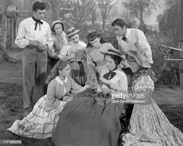 Actors Elizabeth Taylor as Amy Peter Lawford as Laurie June Allyson as Jo Janet Leigh as Meg and Margaret O'Brien as Beth in the film 'Little Women'...