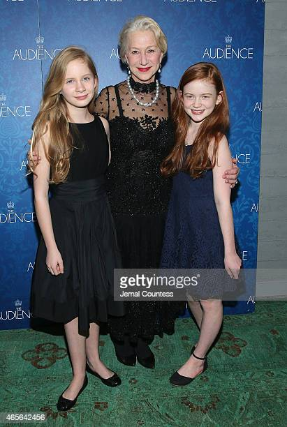 Actors Elizabeth Teeter Helen Mirren and Sadie Sink attend the opening night after party for the Broadway Opening of 'The Audience' at Urbo NYC on...