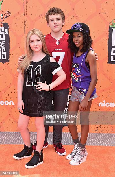 Actors Ella Anderson Sean Ryan Fox and Riele Downs attend the Nickelodeon Kids' Choice Sports Awards 2016 at UCLA's Pauley Pavilion on July 14 2016...